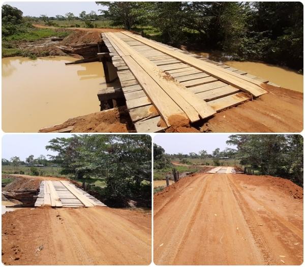 Equipe da Secretaria de obras SEMOSP recupera ponte na linha 09
